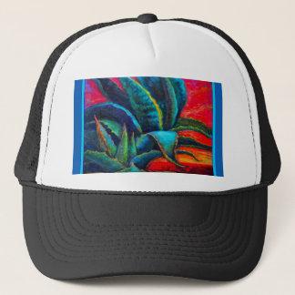 BLUE DESERT AGAVE RED DAWN DESIGN TRUCKER HAT