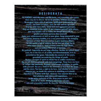 Blue Desiderata on Space Dust Black Marble Poster