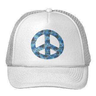 Blue Design of Peace Sign, Peace Symbol Cap