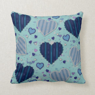 Blue Designed Hearts Cotton Throw Pillow