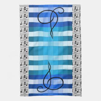 Blue Designer Musical Music Musicians Kitchen Gift Towels