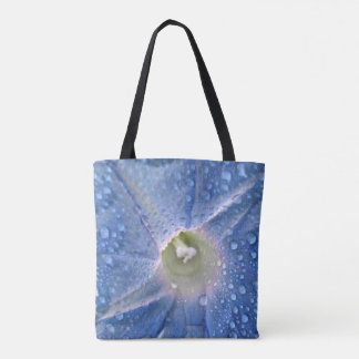 Blue Dewy Morning Glory Flower Tote Bag