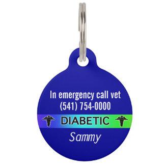 Blue Diabetic medical alert dog tag Pet Nametag