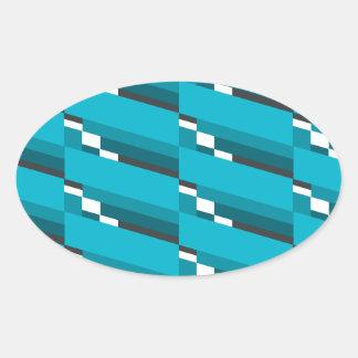 Blue Diagonal Line Oval Sticker