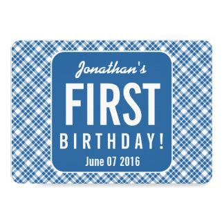 BLUE DIAGONAL PLAID 1st Birthday One Year Old Z07N Card