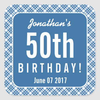 BLUE DIAGONAL PLAID 50th Birthday Party Z07L Square Sticker