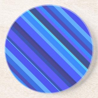 Blue diagonal stripes drink coasters