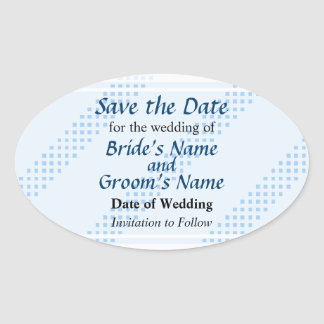 Blue Diagonal Stripes Save the Date Oval Stickers