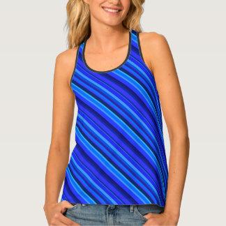 Blue diagonal stripes singlet