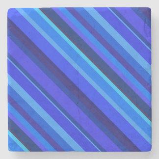 Blue diagonal stripes stone beverage coaster