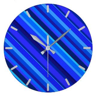 Blue diagonal stripes wall clock