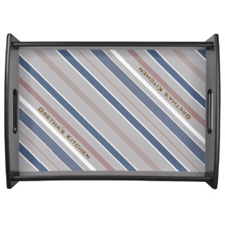 Blue Diagonal Stripes with Custom Text Serving Tray