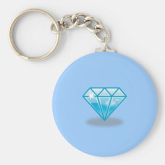 Blue Diamond Basic Round Button Key Ring