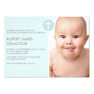 Blue Diamond Cross Photo Christening Invitation