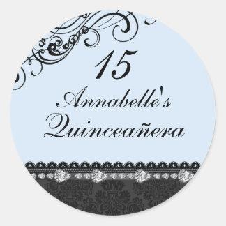 Blue Diamond & Damask Quinceanera Sticker