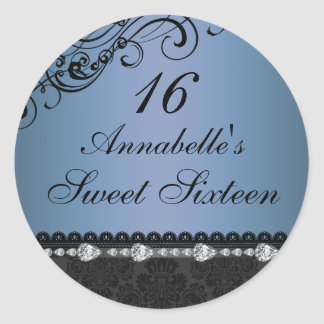 Blue Diamond & Damask Sweet16 Sticker