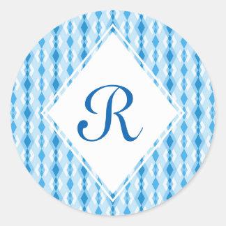 Blue Diamond Monogram Classic Round Sticker