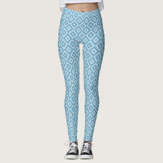 Blue Diamond Pattern Leggings