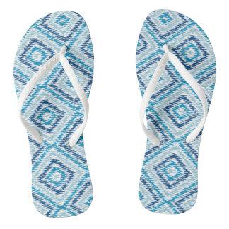 Blue Diamond Pattern Thongs