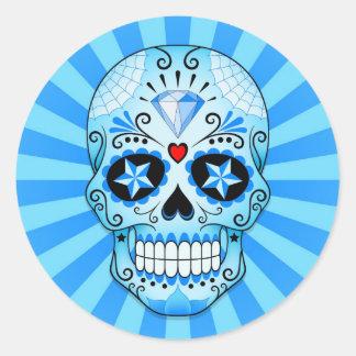 Blue Diamond Sugar Skull Round Sticker