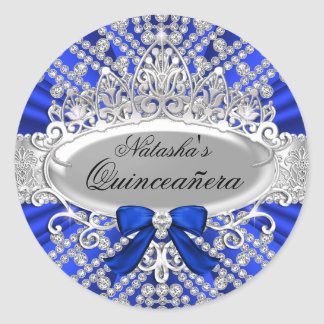 Blue Diamond & Tiara Quinceañera Sticker