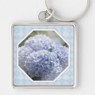 Blue Diamonds Hydrangea Flowers Silver-Colored Square Key Ring