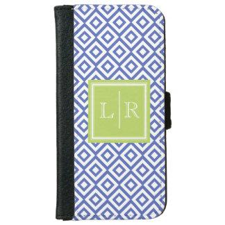 Blue Diamonds Pattern and Monogram iPhone 6 Wallet Case