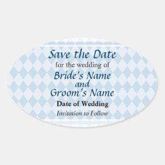 Blue Diamonds Save the Date Oval Sticker