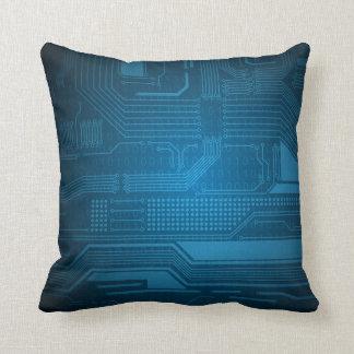 Blue Digital Binary Code Technology Pillow
