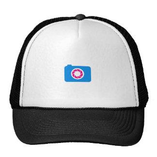Blue digital camera mesh hats