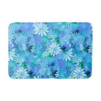 Blue Digital Daisies Bath Mats