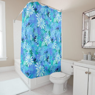 Blue Digital Daisies Shower Curtain
