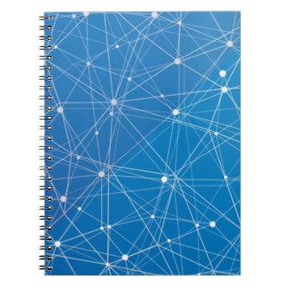 Blue digital network spiral notebook