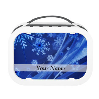 Blue digital snowflake pattern lunchboxes