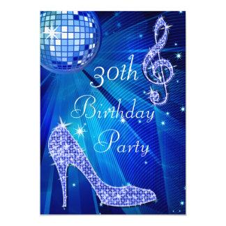 Blue Disco Ball and Heels 30th Birthday 13 Cm X 18 Cm Invitation Card