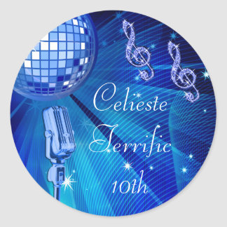 Blue Disco Ball and Retro Microphone 10th Birthday Round Sticker