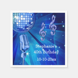 Blue Disco Ball and Retro Microphone 40th Birthday Disposable Serviette