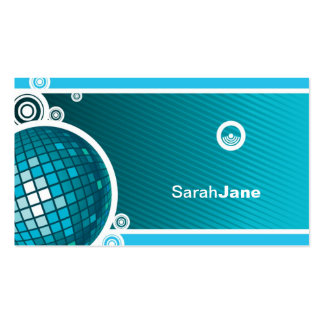 Blue Disco Ball Business Card Template