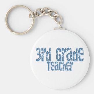 Blue Distressed Text 3rd Grade Teacher Basic Round Button Key Ring