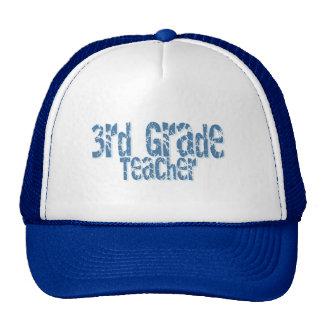 Blue Distressed Text 3rd Grade Teacher Cap