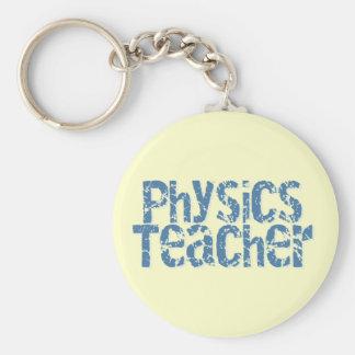 Blue Distressed Text Physics Teacher Basic Round Button Key Ring