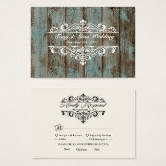 Blue Distressed Wood Wedding RSVP Card