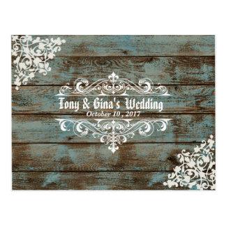 Blue Distressed Wood Wedding RSVP Postcard
