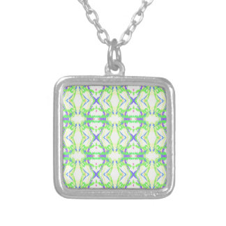 Blue DNA shape With Green Yellow Tribal Pattern Silver Plated Necklace