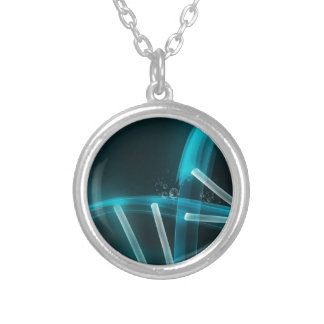 Blue DNA Strand of Evolution Silver Plated Necklace