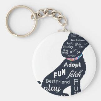 Blue Dog Basic Round Button Key Ring