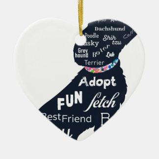 Blue Dog Ceramic Heart Decoration
