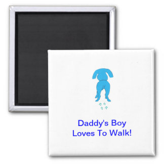 Blue Dog Ears Down Daddy's Boy Square Magnet