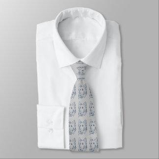 Blue Dog On Grey Tie