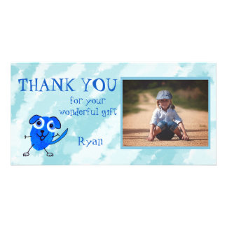 Blue Dog Personalized Thank You Photo Greeting Card